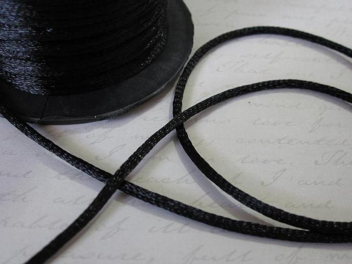 3yds - Black String Satin Ribbon