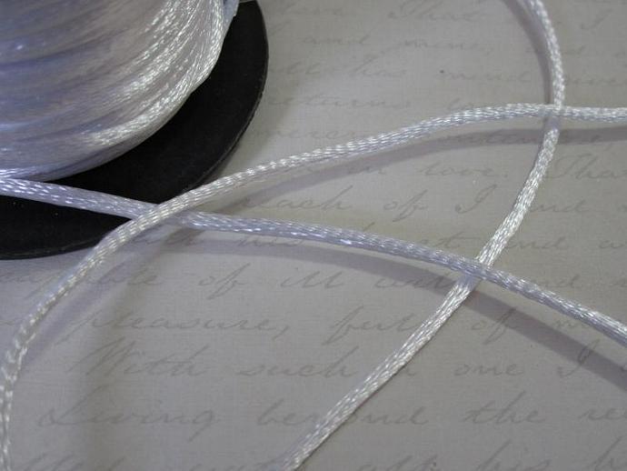 3yds - White String Satin Ribbon