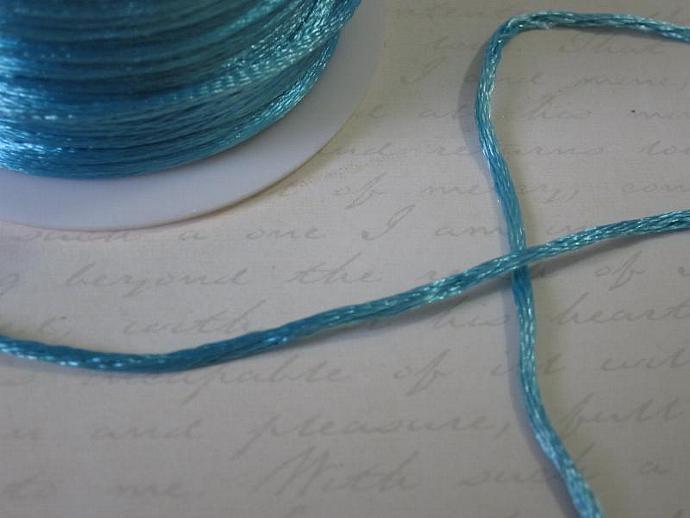 3yds - Turquoise String Satin Ribbon