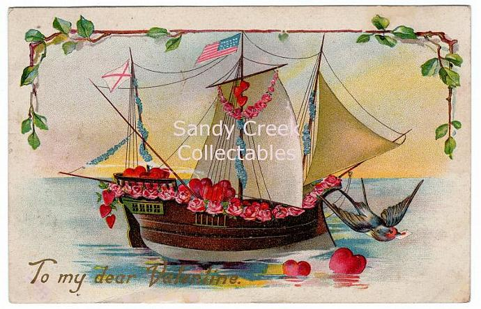 Digital Scan Antique Victorian Valentine Postcard Ship Roses Hearts