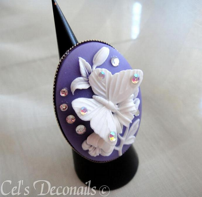White on purple deco butterfly swarovski ring
