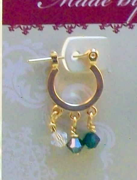 Small Gold Hoop Earrings & Green Crystals