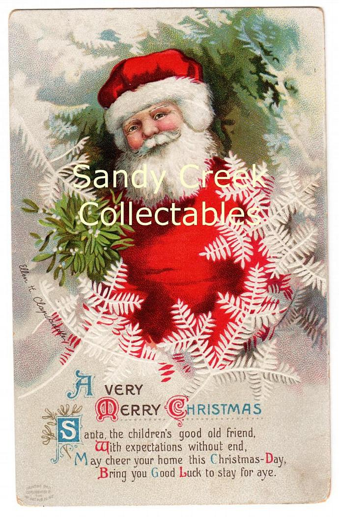 Digital Scan Antique Victorian Christmas Postcard Clapsaddle Santa Claus