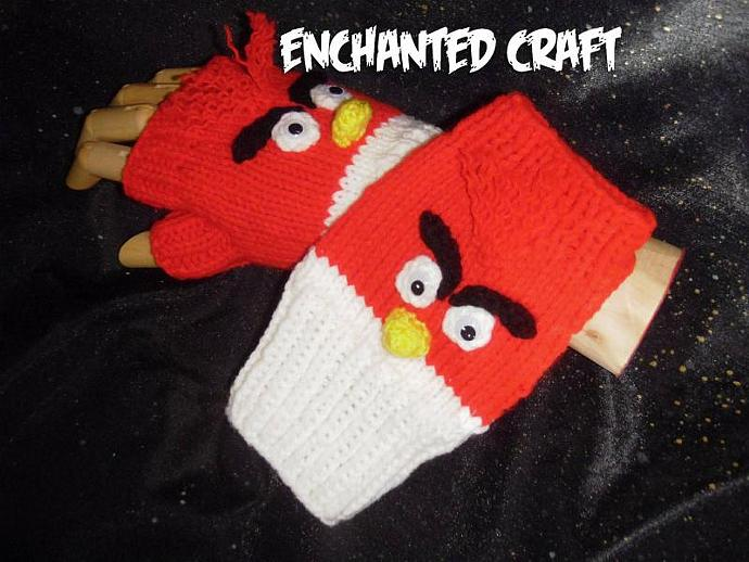 Fun & warm ANGRY bright red BIRD fingerless gloves- RED