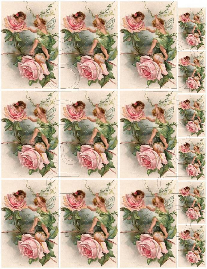 Shabby chic Pink ROSES with Faries  digital collage sheets for scrapbook and
