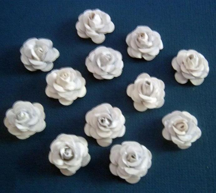12 Handmade tiny roses ~ White