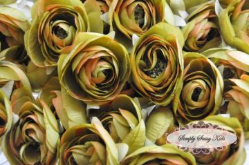 Olive 2.5 inch Ranunculus Silk Flowers