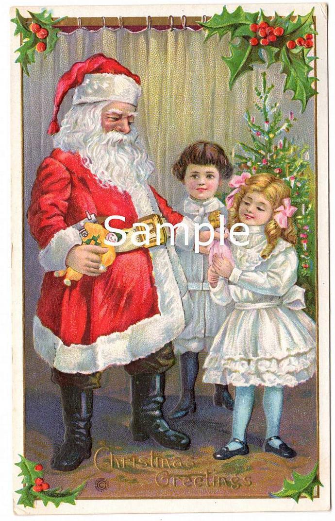 Digital Scan Antique Victorian Christmas Postcard Santa Claus Children Doll