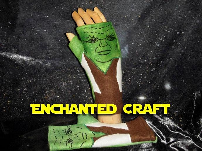 Fleece YODA Fingerless Gloves perfect for Star Wars fans