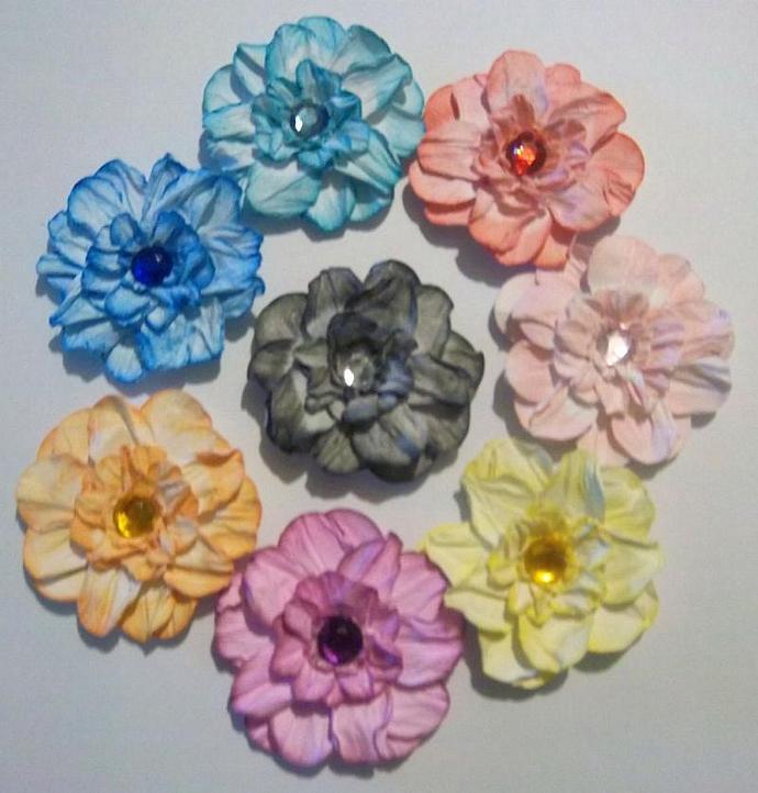 6 Crumple Flowers w/ Rhinestones