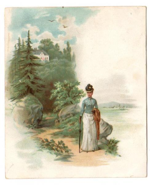 Mokaska Coffee Victorian Advertising Trade Card Lady in Dress