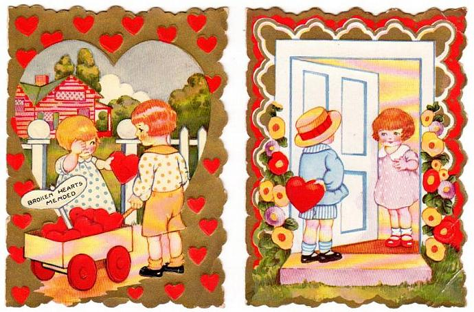 Vintage Valentine Cards Lot of 2 Kids Hearts 1930s Folding Embossed