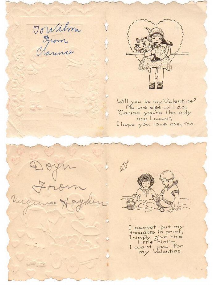 Vintage Valentine Cards Lot of 2 Kids Hearts 1930s Folding Embossed