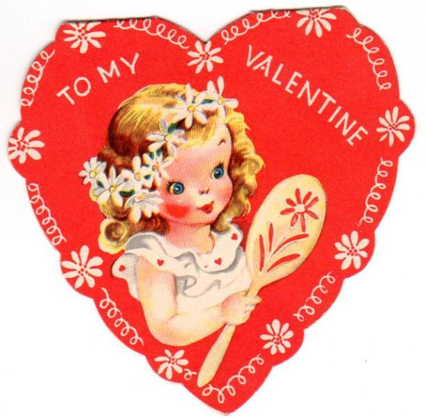 Vintage Valentine Card Heart Shaped Folding Girl and Daisies