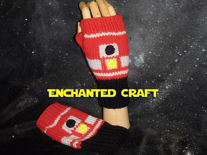 Hand Knitted R4 Fingerless gloves RED version of R2-D2 inspired by STAR WARS
