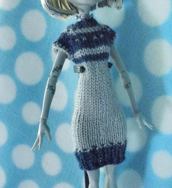 Grey & Blue hand knit silk wool dress for Monster High