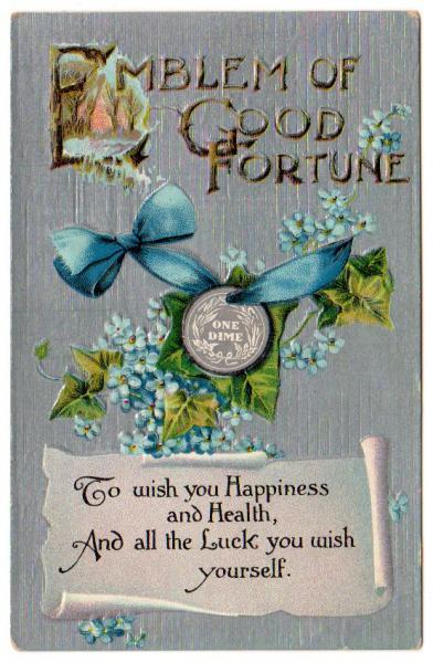 Antique Postcard UNUSED 1910s Emblem of Good Fortune Dime Blue Ribbon