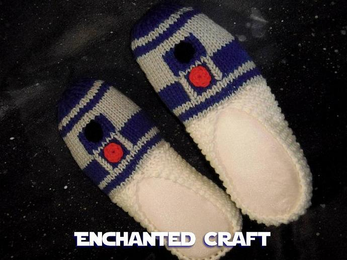 Knitted R2-D2 Slippers inspired by STAR WARS