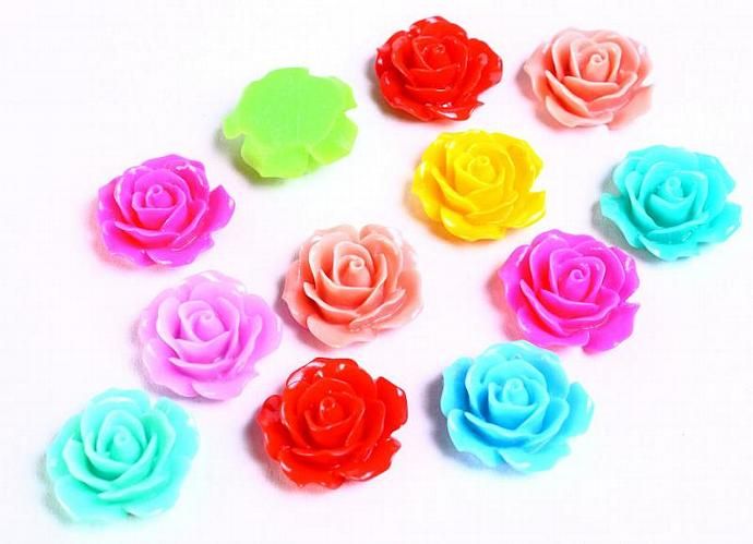 20pc Lucite rose resin flower cab cabochon mixed color 18mm 20 (724)