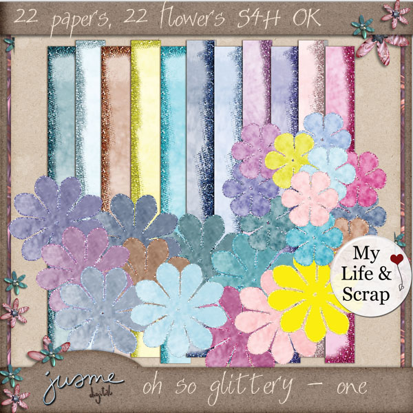 oh so glittery - one digital scrapbooking kit
