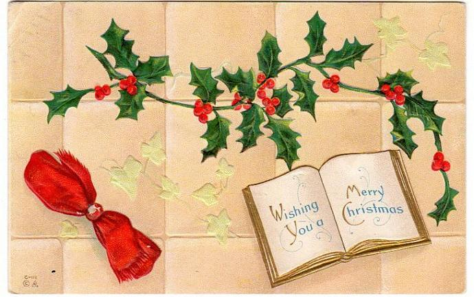 Antique Christmas  Postcard 1910s Book Red Bow Holly Ivy
