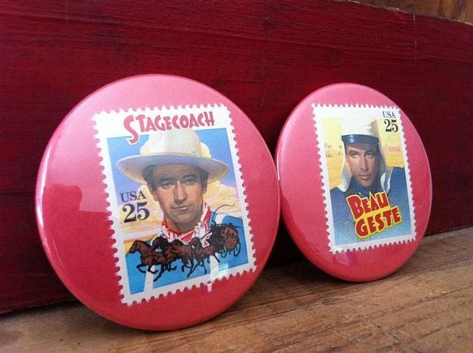Gary Cooper & John Wayne Stamp Buttons