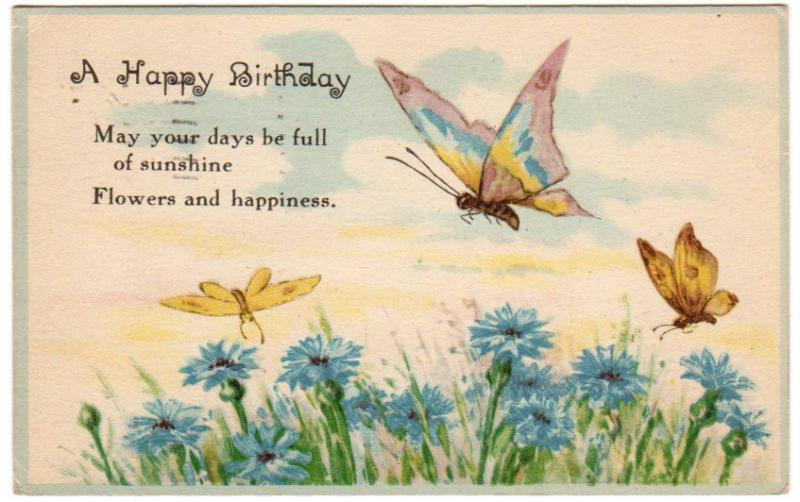 Antique Postcard 1910s Birthday By Sandycreekcollectables On Zibbet Happy Birthday Wishes Butterfly
