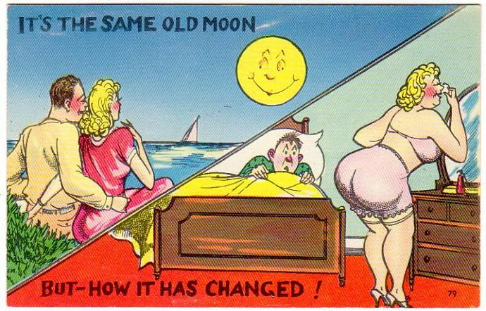 Humorous Comic Postcard 1940s Same Old Moon Husband Wife