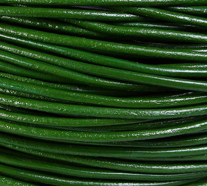 2mm Green genuine leather cord 10 feet (717)