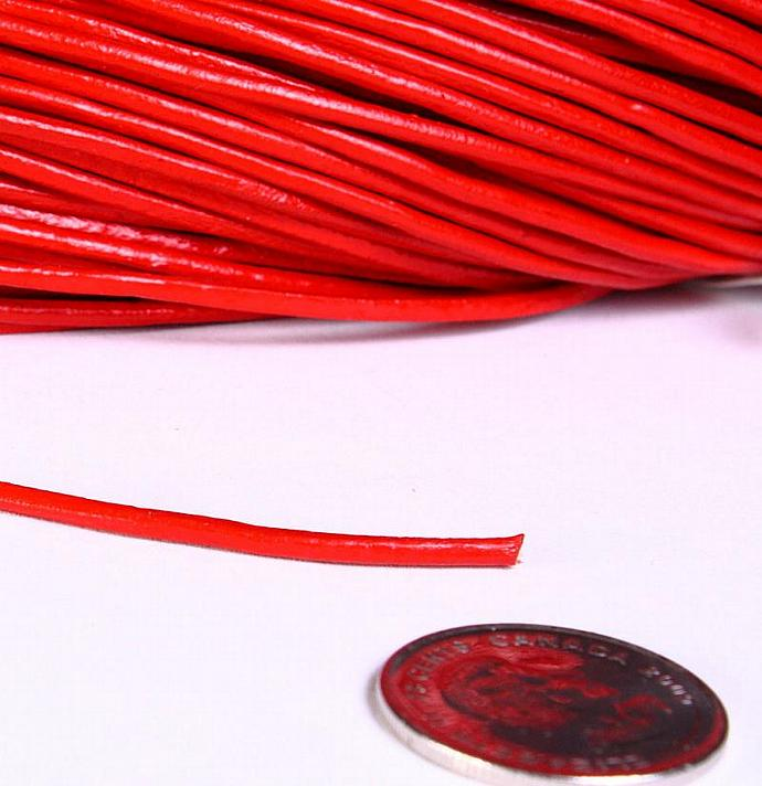 2mm Red genuine leather cord 10 feet (725)