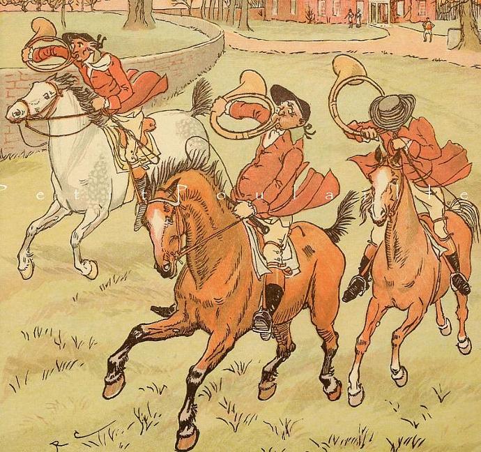 Three Jovial Huntsmen 1907 Edwardian Randolph Caldecott Antique Storybook