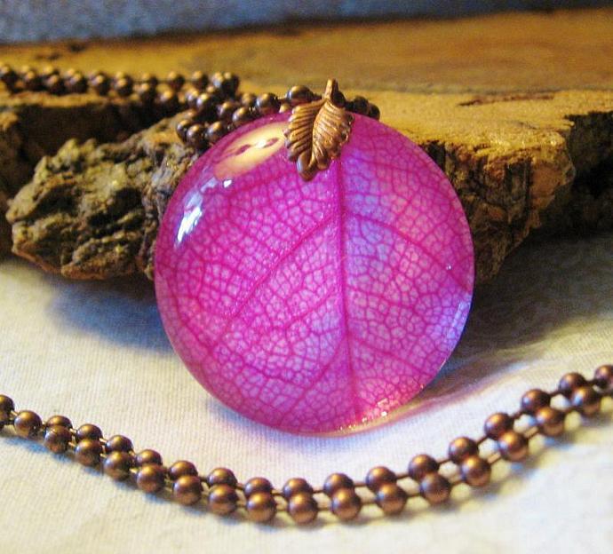 Hot Pink Skeleton Leaf Under Glass Necklace