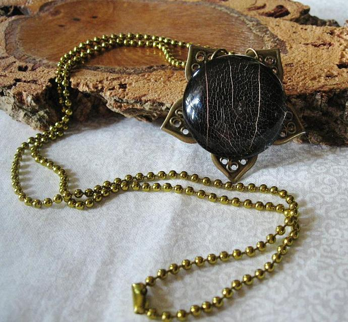 Charcoal Black Skeleton Leaf Under Glass Necklace