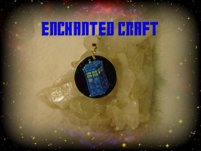 Hand Painted Dr who TArDIS pendant
