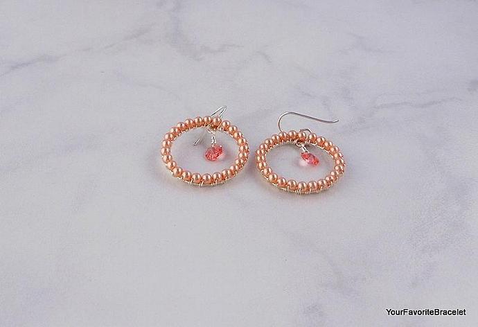 Peach Crystal and Pearl Wrapped Hoop Earrings