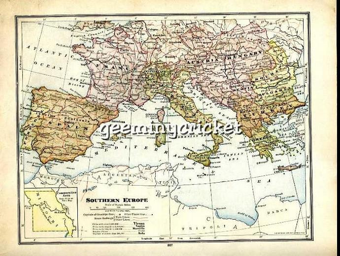 Antique Map Of Southern Europe 1913 By Geeminycrickets On Zibbet