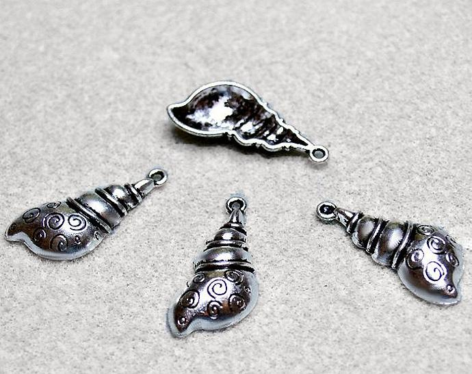 Silver Conch Charms- pewter shell charms