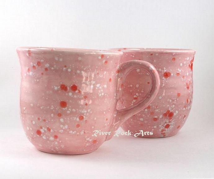 Large Cotton Candy Pink Ceramic Mug Set
