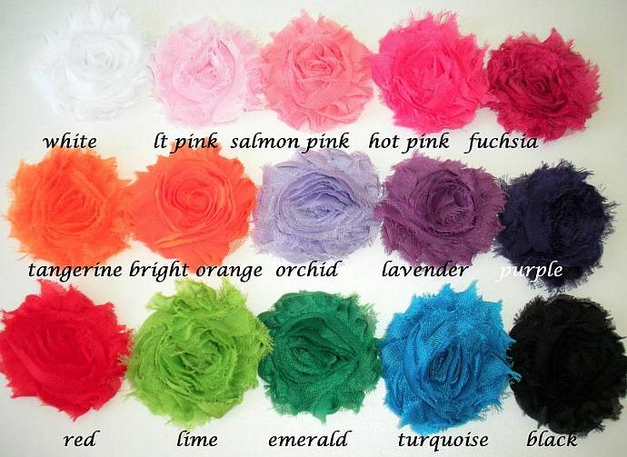 40 Shabby Frayed Chiffon Flowers for Headbands, Hair Clips (ASSTD Colors) ---