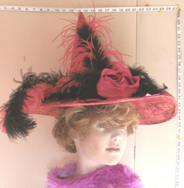 Red Halloween Hat with Ostrich Feathers