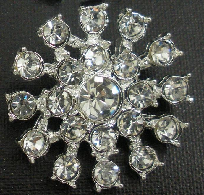 LOT of 5 Metal CLEAR Rhinestone Buttons, 25 mm, Use as Flower Center  --- ZIBBET