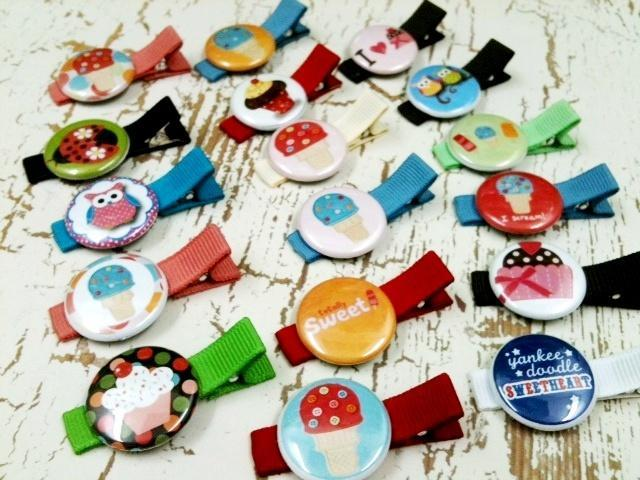 """Whotesale Lot of 1"""" Button Hair Clips for Resell in Boutiques, Craft Shows, etc"""