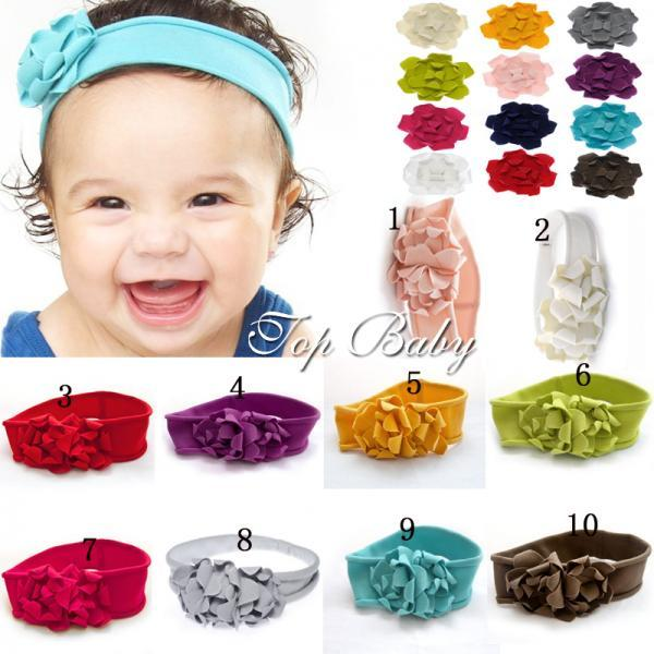 Infant Baby Girls Knit Headbands Matches Our Foot Flowers --- Choose Your Color