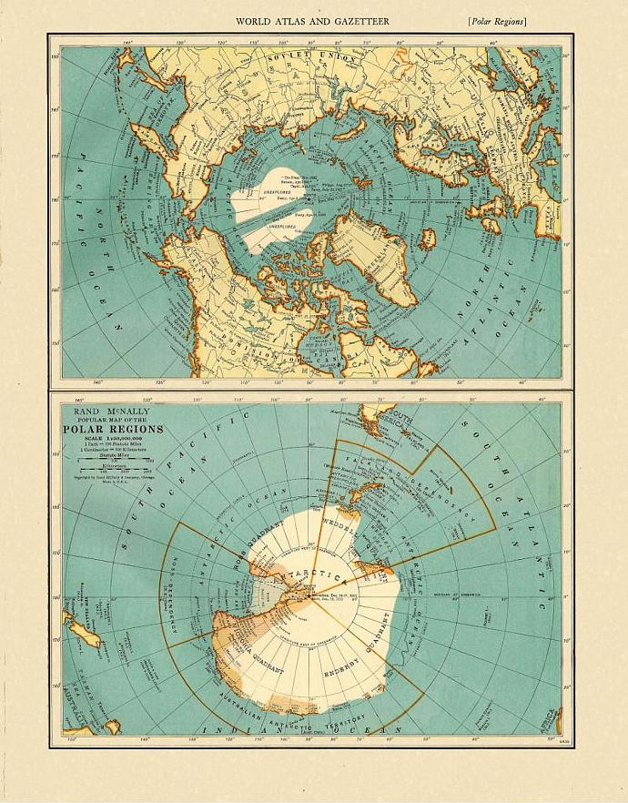 North Pole and South Pole and Polar Regions 1935 Antique Engraved Maps
