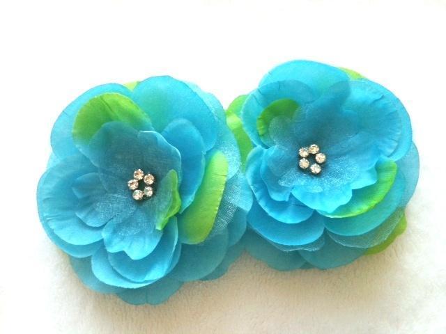 "Premium 3.5"" Turquoise Silk & Organza Flower w/ Rhinestone Cluster ---Set of 2"