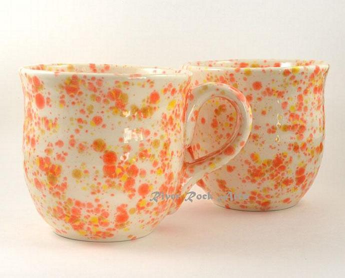 Large Orange, Yellow, and White Ceramic Mug Set