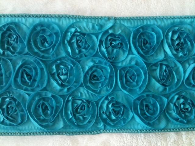 1 Yard By 4 Inches Turquoise Rosette Ribbon for Couture Chunky Bows --- ZIBBET