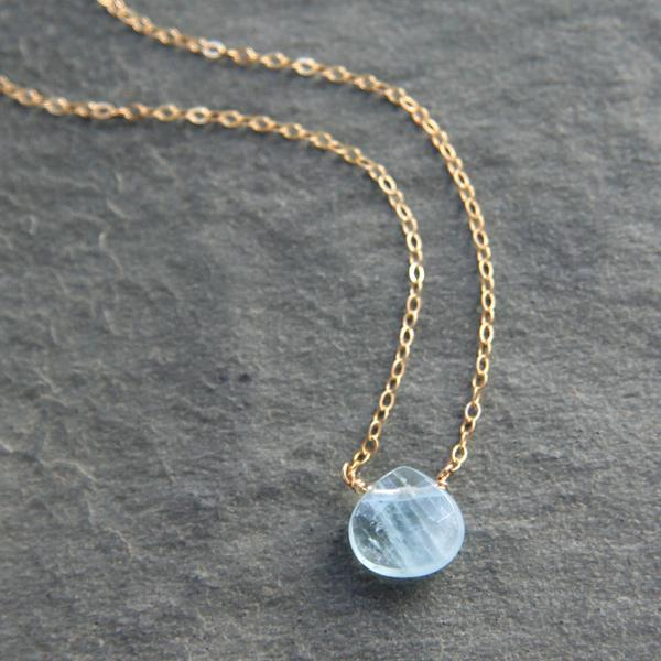 Aquamarine & Gold Simplicity Necklace