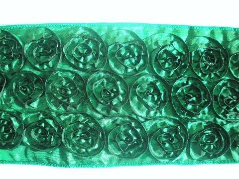 1 Yard By 4 Inches Emerald Rosette Ribbon for Couture Chunky Bows --- ZIBBET