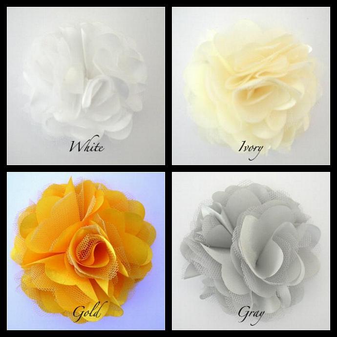 Lot of 12 REGULAR SIZE Satin Mesh Flowers for Girl's Hair Clips --- ZIBBET